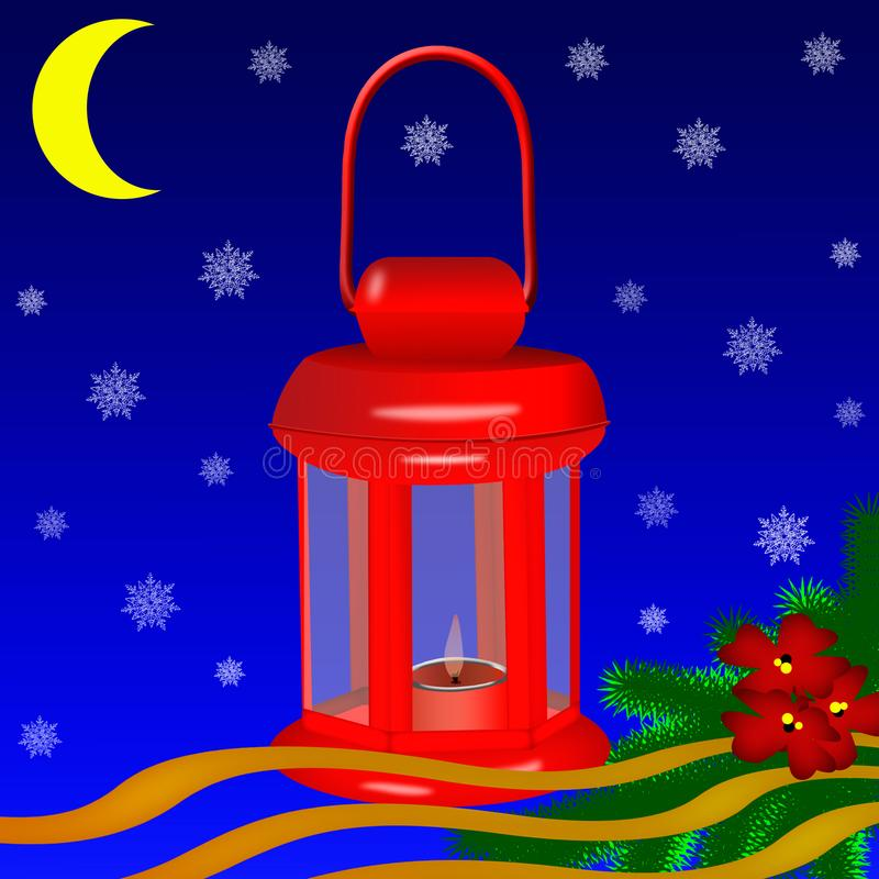 Greeting card . Red Christmas lantern with burning candle royalty free illustration