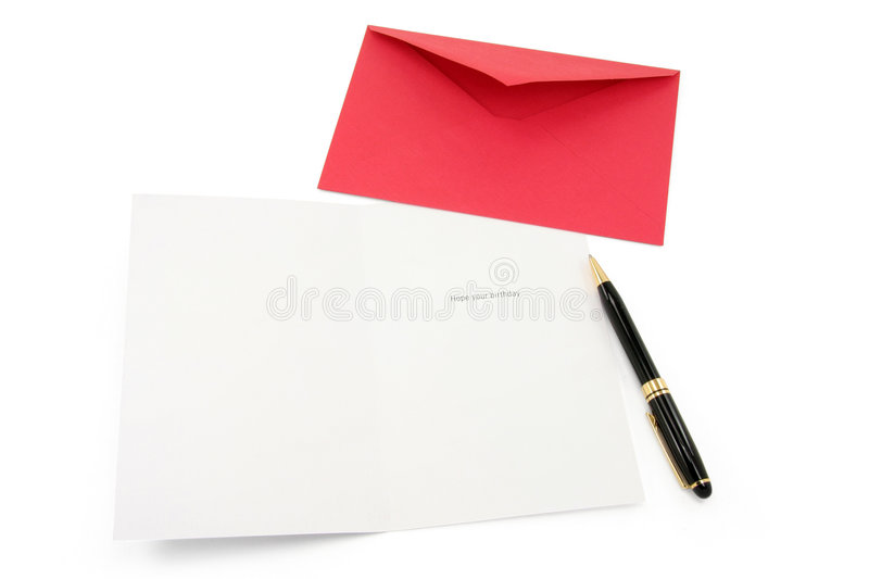 Greeting card and red envelope. Communication concept royalty free stock photos