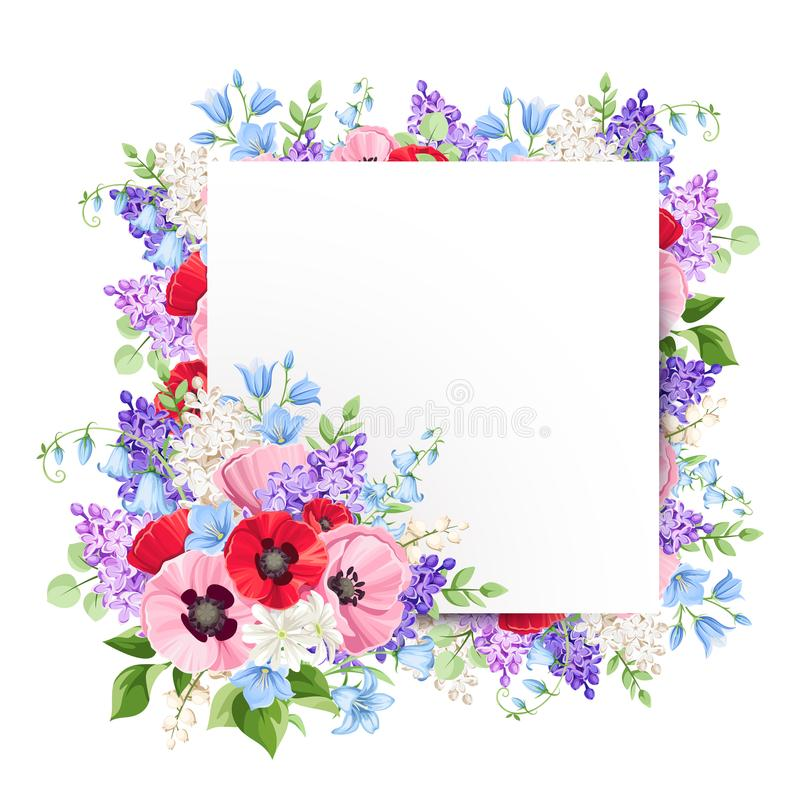 Greeting card with red, pink and purple flowers. Vector illustration. royalty free illustration