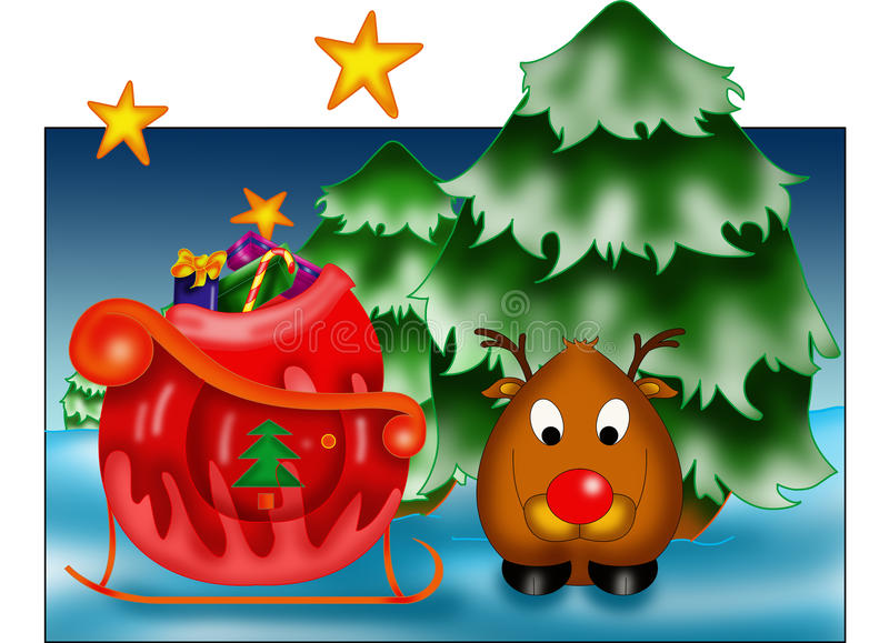 Greeting card with reindeer stock images