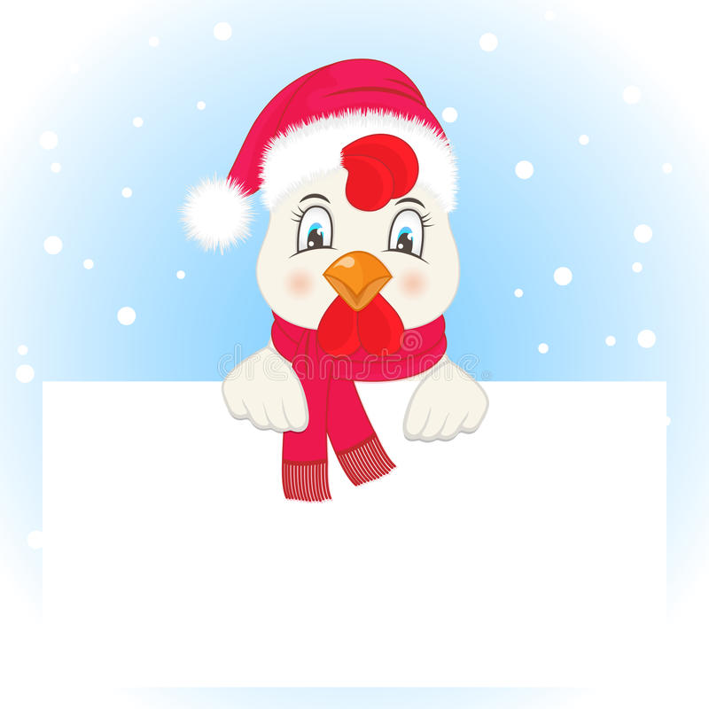 Greeting card with a rooster in a Santa Claus hat and scarf vector illustration