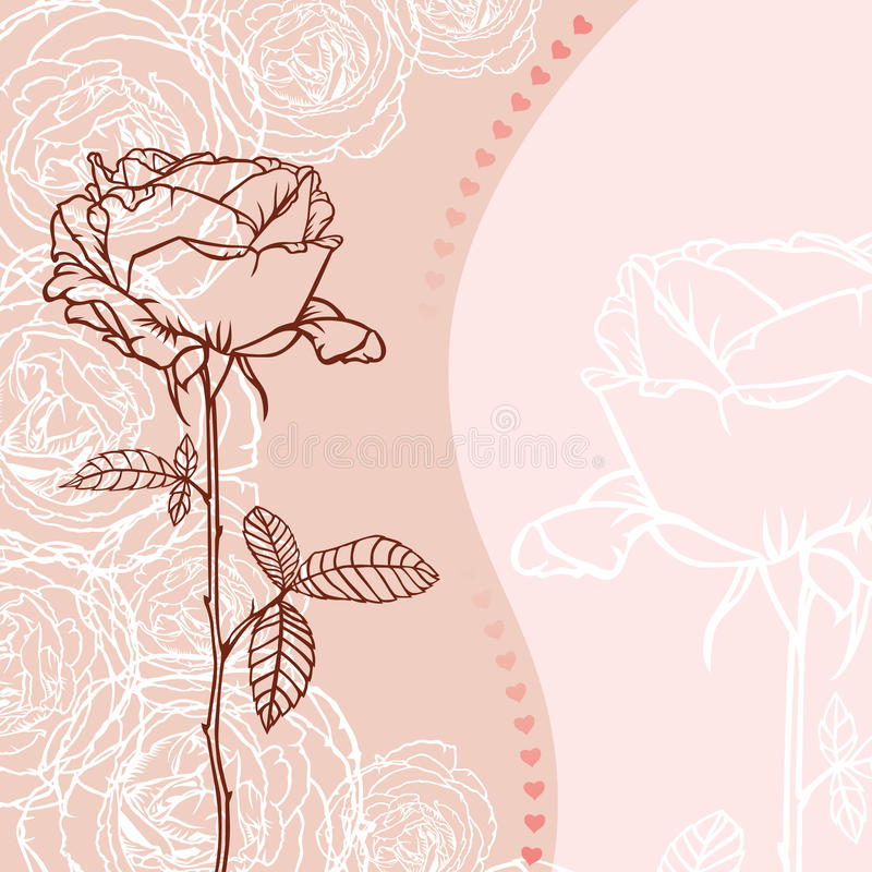 Greeting Card With Rose Stock Image