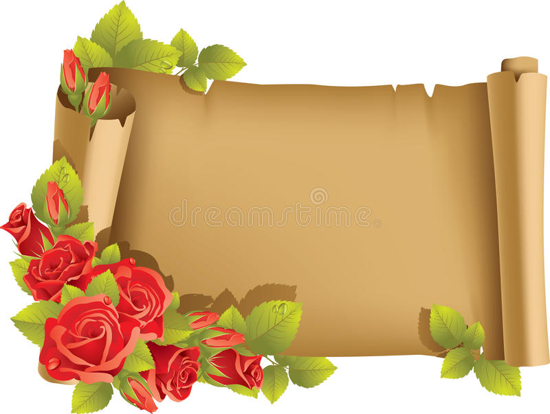 Greeting Card With Rose And Scroll - Horizontal Stock Photo