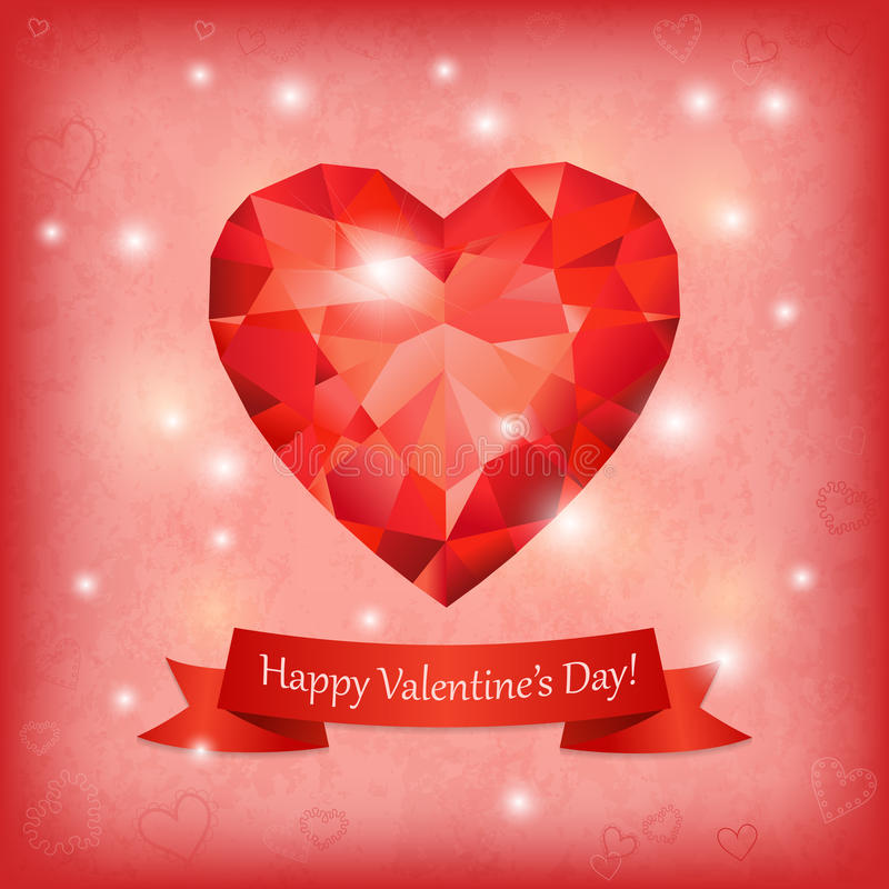 Greeting card with ruby heart, ribbon and lights. Symbol for Valentines Day. Can represent love, Valentine's Day, romance stock illustration