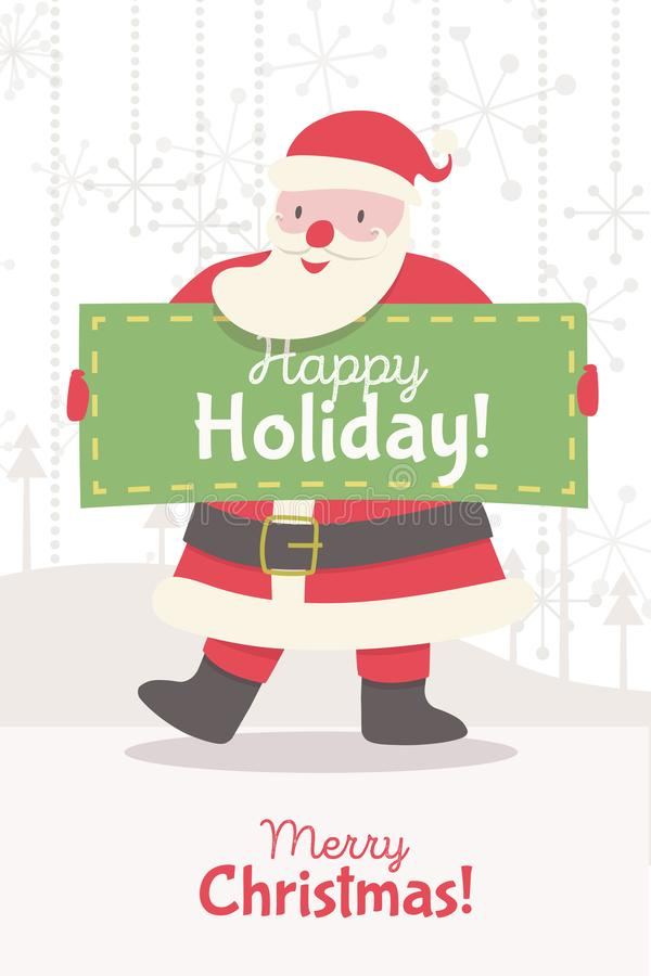 Greeting card with Santa Claus. And banner on holiday backrground. Christmas character cartoon style for banner, tag, decoration, web site, calendar, cover stock illustration