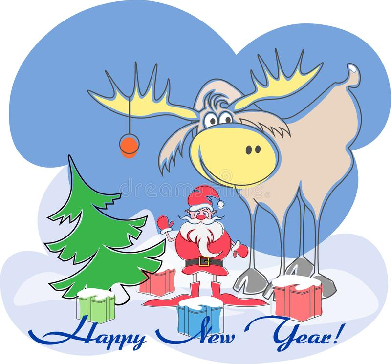 Greeting card with Santa, moose, tree, presents a happy new year stock illustration
