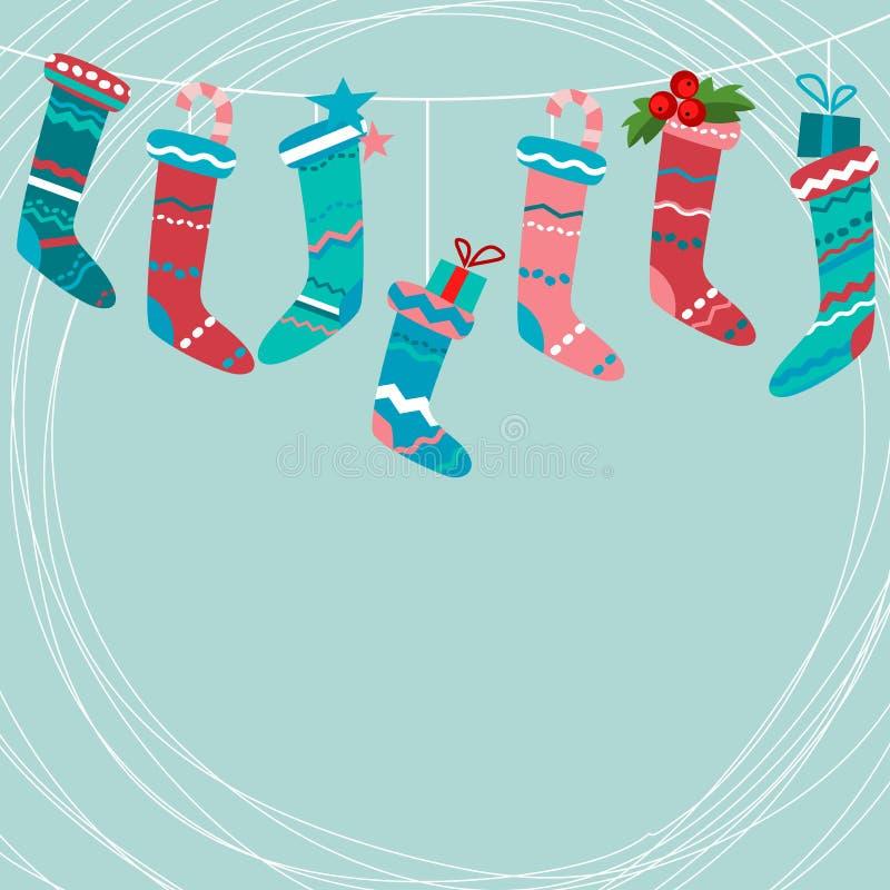 Greeting card with Santa socks royalty free illustration
