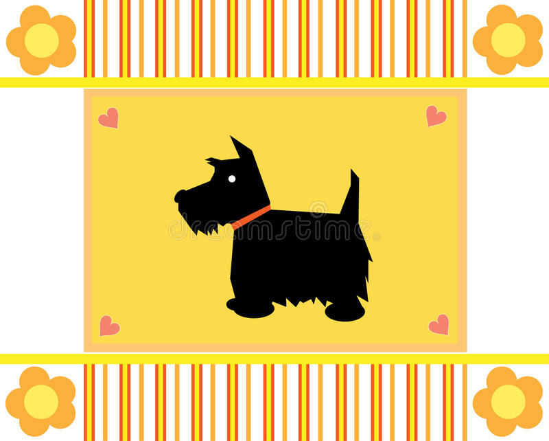 Greeting Card Scottie Dog Royalty Free Stock Images
