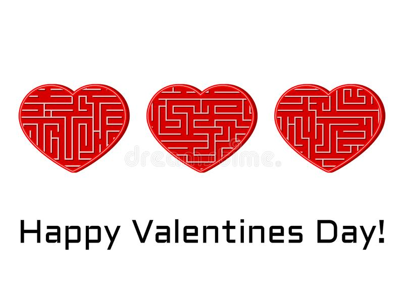 Greeting card with set of isolated vector hearts with maze labyrinth stock illustration