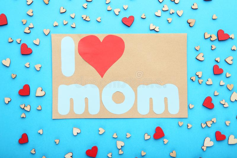 Greeting card with small hearts stock photo