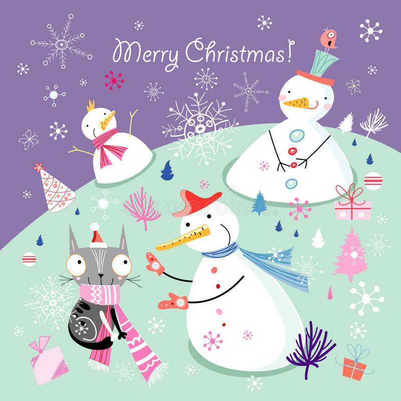 Greeting card with snowmen royalty free illustration