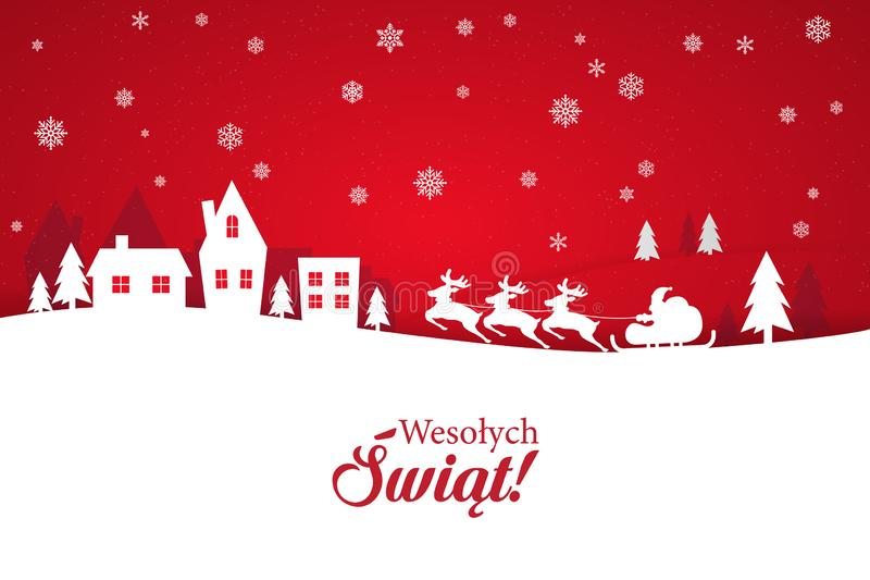 Greeting card with stylish Merry Christmas lettering in Polish stock illustration