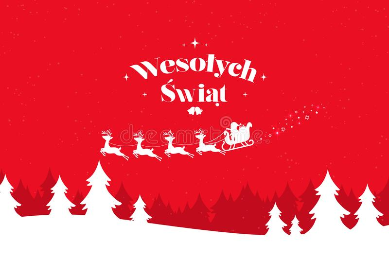 Greeting card with stylish Merry Christmas lettering in Polish. Winter scenery with falling snow and reindeer team with Santa Claus royalty free illustration