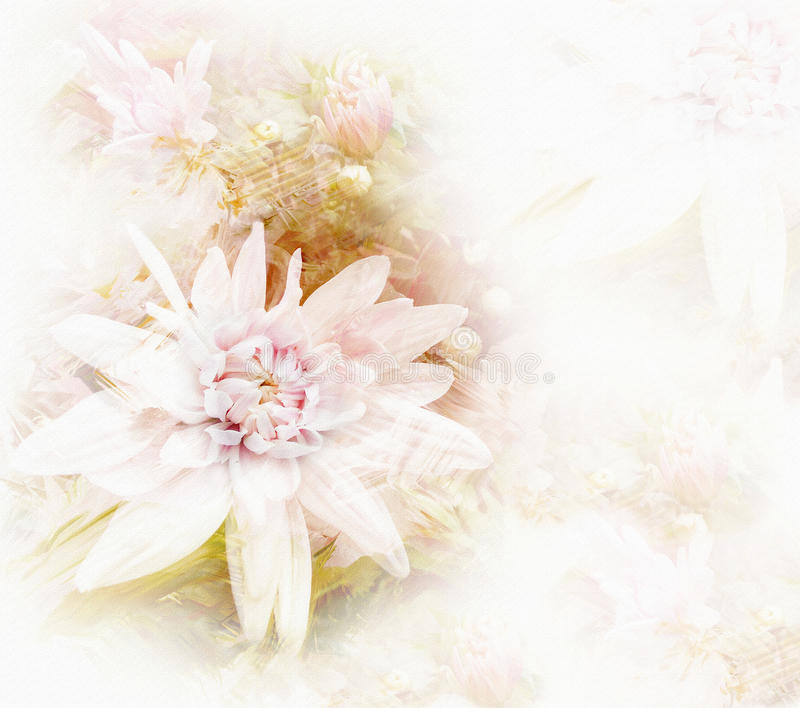 Greeting card with stylized white chrysanthemums. On grunge stained hazy background in pastel colors royalty free illustration
