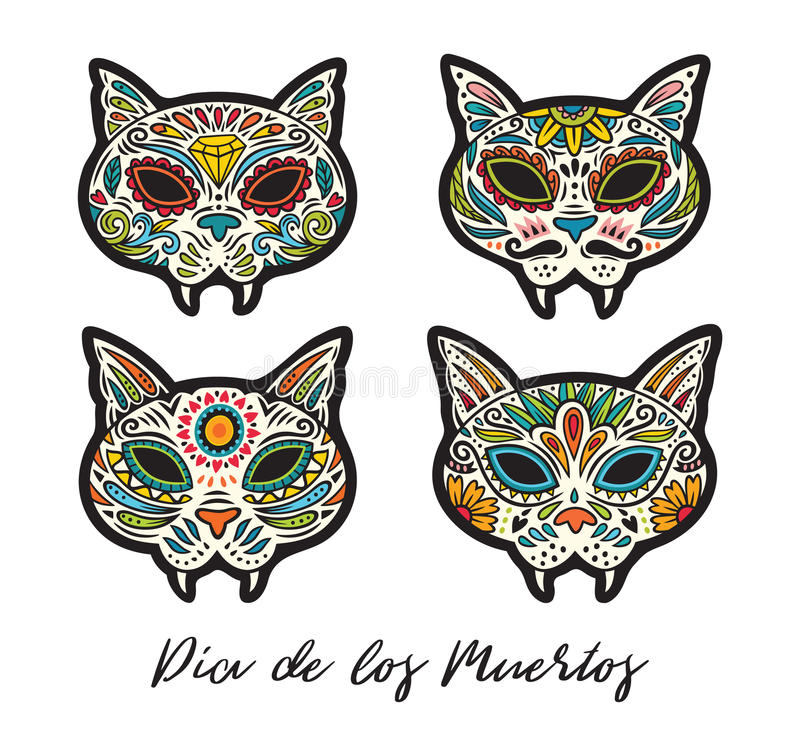 Greeting card with sugar skull cats traditional holiday in mexico download greeting card with sugar skull cats traditional holiday in mexico stock vector m4hsunfo