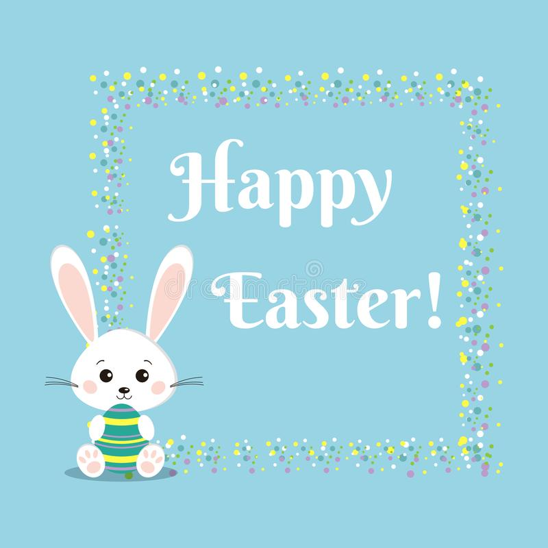 Greeting card with sweet white easter bunny rabbit with color easter egg vector illustration