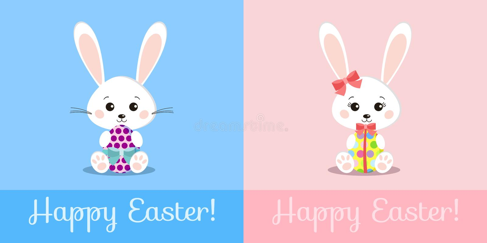 Greeting card with sweet white easter rabbits boy and girl holding gift egg royalty free illustration