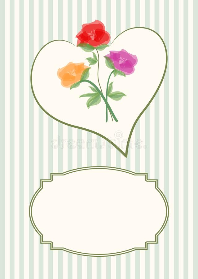 Greeting card template with beautiful bouquet of roses in heart shape on soft stripped background with a vintage frame for text me. Ssage stock illustration