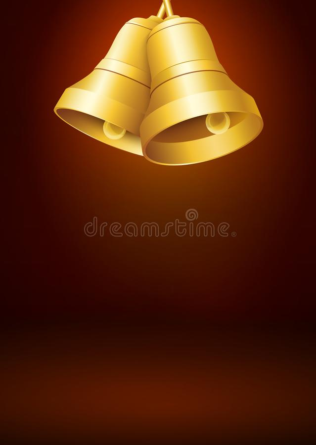 Brown Colored Greeting Card Template with Golden Bells stock images