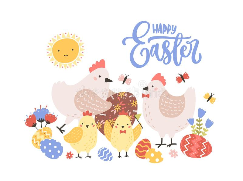 Greeting card template with Happy Easter holiday wish handwritten with calligraphic script, family of funny cute hens royalty free illustration