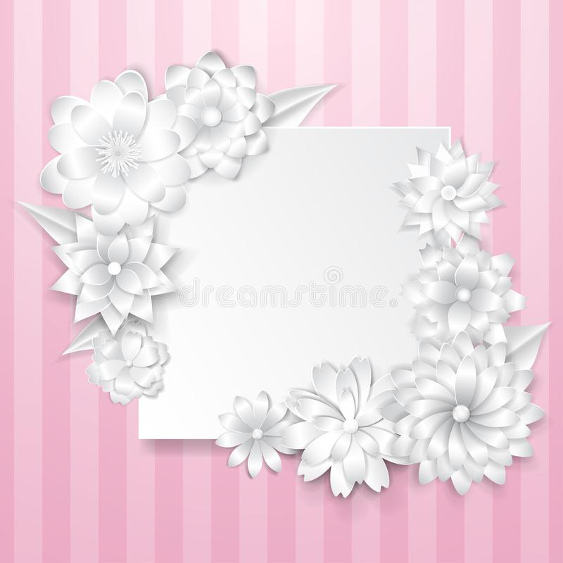 Greeting card template with paper flowers stock vector download greeting card template with paper flowers stock vector illustration of shape decoration mightylinksfo