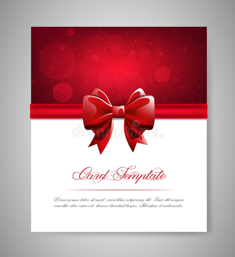 Greeting card template with red bow and ribbon invitation vector download greeting card template with red bow and ribbon invitation vector illustration stock vector stopboris Image collections