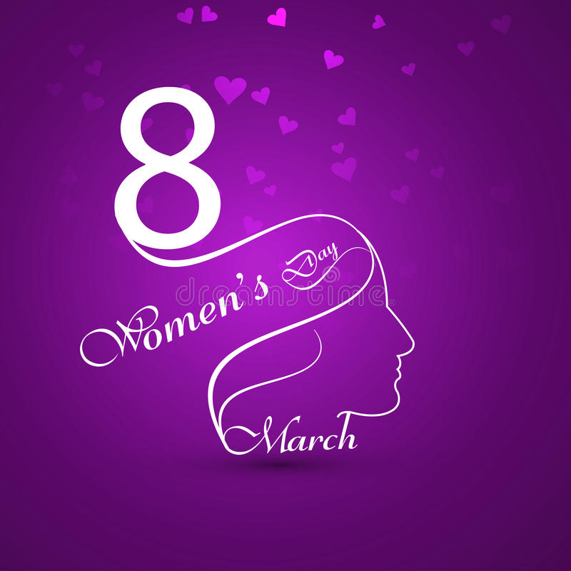 Greeting card with text 8th March Happy Women's Day background c stock illustration
