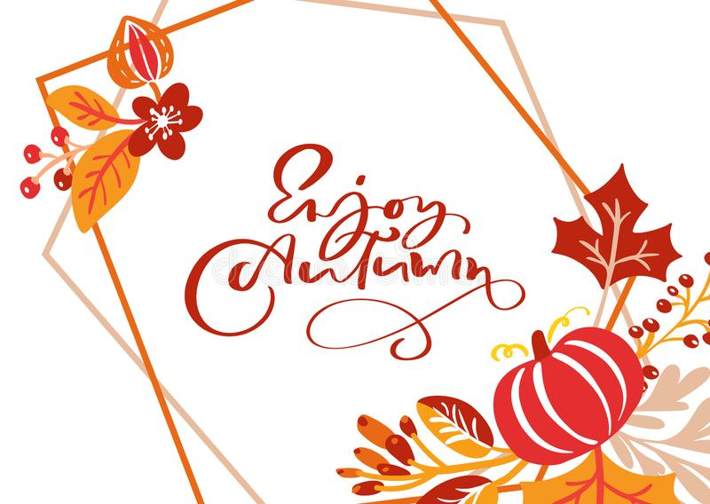 Greeting card with text Enjoy Autumn. Orange leaves of maple, september, october or november foliage, oak and birch tree royalty free illustration