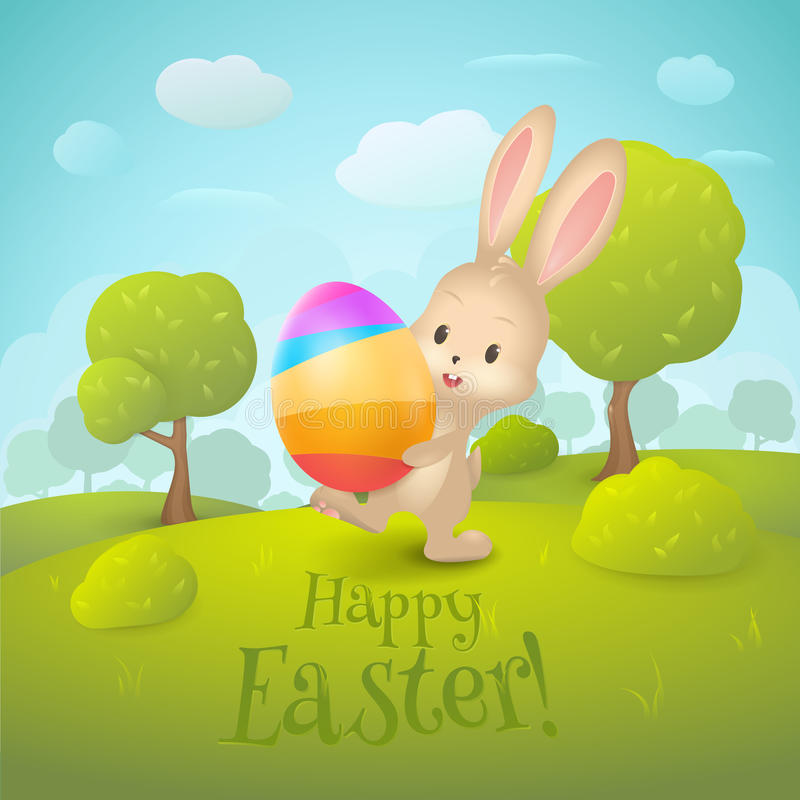 """Greeting card with text """"Happy Easter!"""". Cartoon spring landscape with cute rabbit and colored egg in field. stock illustration"""