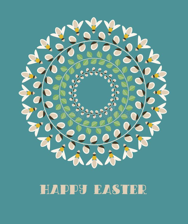 Greeting Card with Text Happy Easter. Mandala with Willow Branches, Green Leaves and Bees. Vector Illustration: Greeting Card with Text Happy Easter. Mandala stock illustration