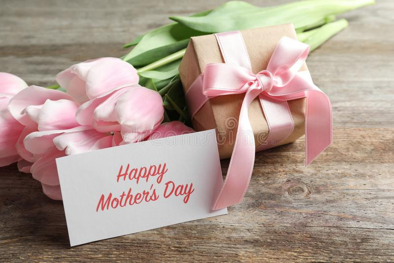 Greeting card with text HAPPY MOTHER`S DAY, royalty free stock photos