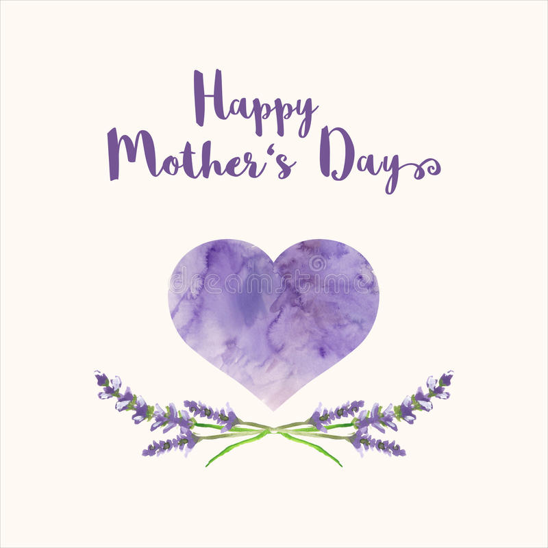 Greeting card with text Happy Mother's Day, heart filled by watercolor texture and handpainted lavender royalty free illustration