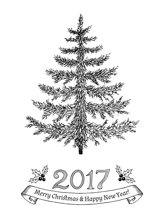 Greeting card with text: Merry Christmas and Happy New Year 2017. Hand drawn evergreen tree without decorations. royalty free illustration