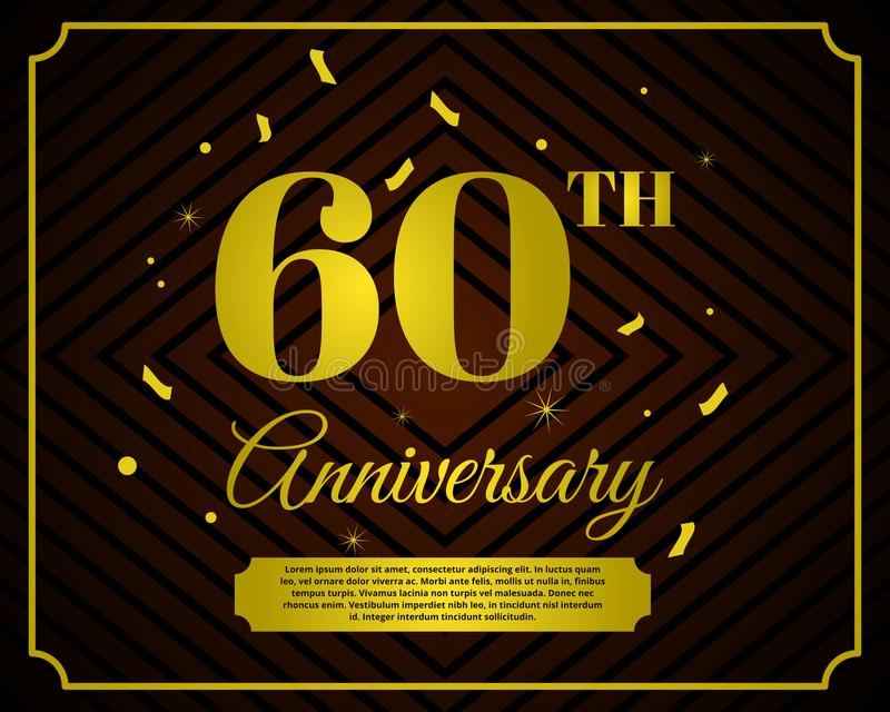 60 anniversary celebration card template royalty free illustration