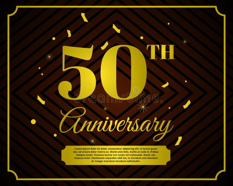 50 anniversary celebration card template stock illustration