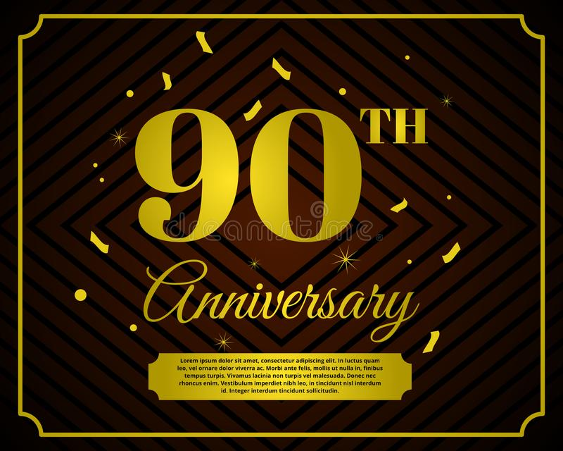 90 anniversary celebration card template royalty free illustration