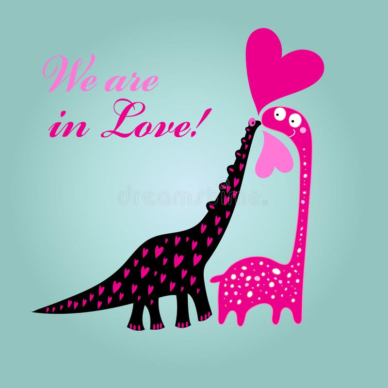 Greeting card to Valentine`s Day card with dinosaurs in love royalty free illustration