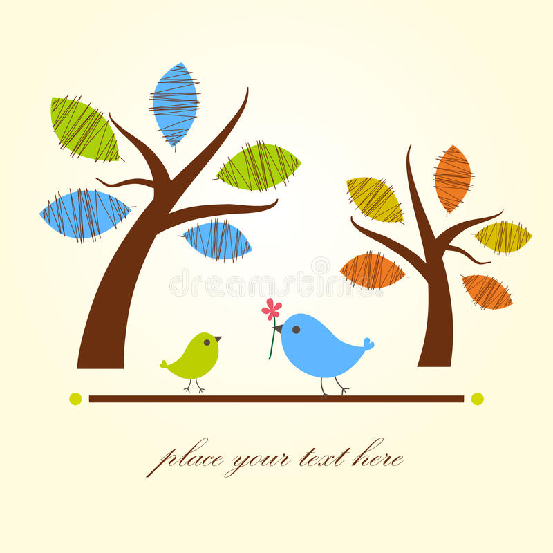Greeting card with two birds under tree. An excellent model for creating backgrounds, ecards, wallpapers, skins for books