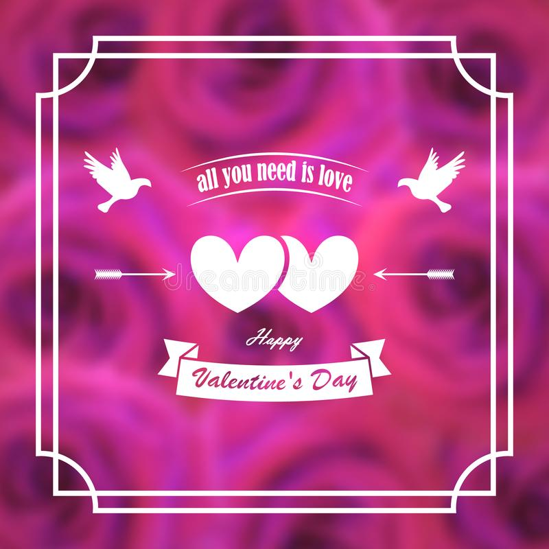 Greeting card for valentine`s day. Banner, poster. Pigeons, hearts, arrows. On a background of blurry pink roses. In frame. stock illustration