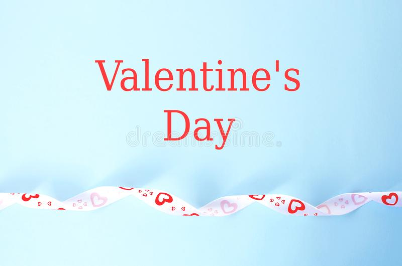 Greeting card for Valentine`s Day in blue with text royalty free stock photos