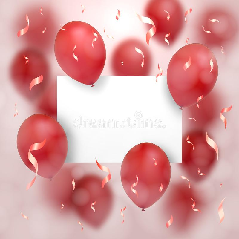 Greeting card for Valentine`s day. Red balloons fly around the sheet of paper on which is any of your text. On a pink background. vector illustration