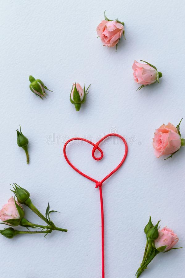 Greeting card for Valentine`s Day, rosebuds, heart, love, background stock photos
