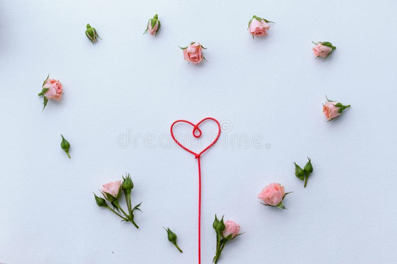 Greeting card for Valentine`s Day, rosebuds, heart, love, background royalty free stock photography