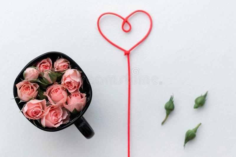 Greeting card for Valentine`s Day, rosebuds, heart, love, background stock photography