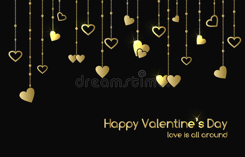 Greeting card for Valentines Day with hanging gold shine hearts stock illustration