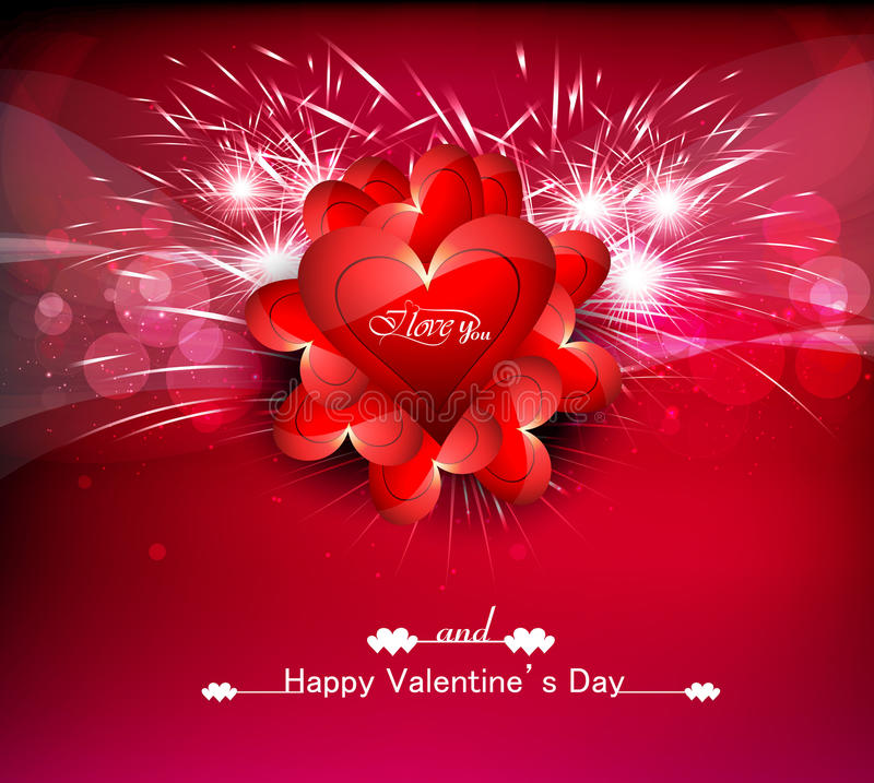 Greeting card Valentines day hearts colorful background stock illustration