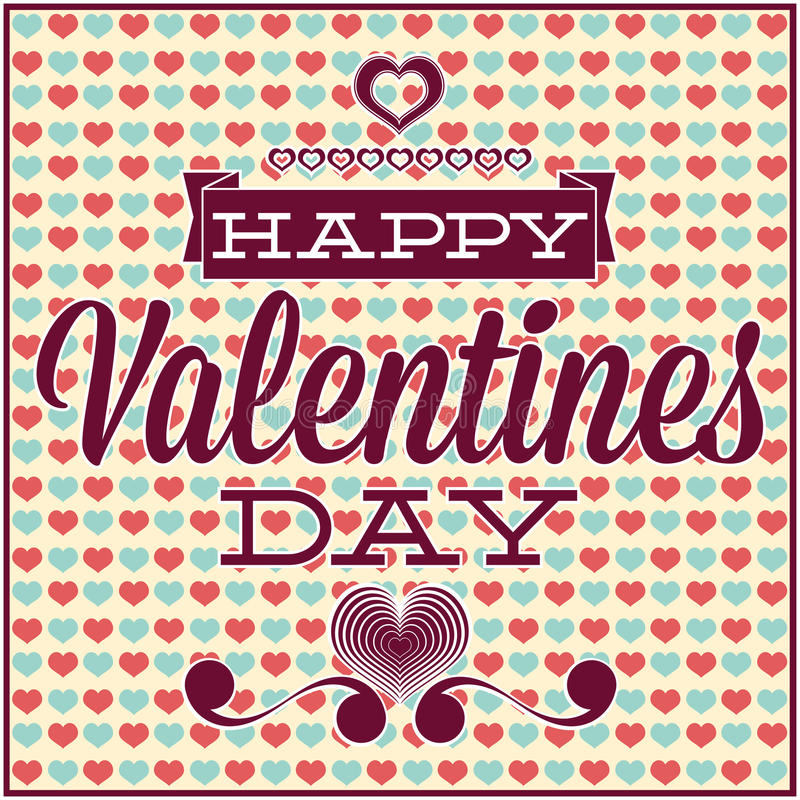 Greeting Card For Valentines Day. Seamless Pattern Stock Photos