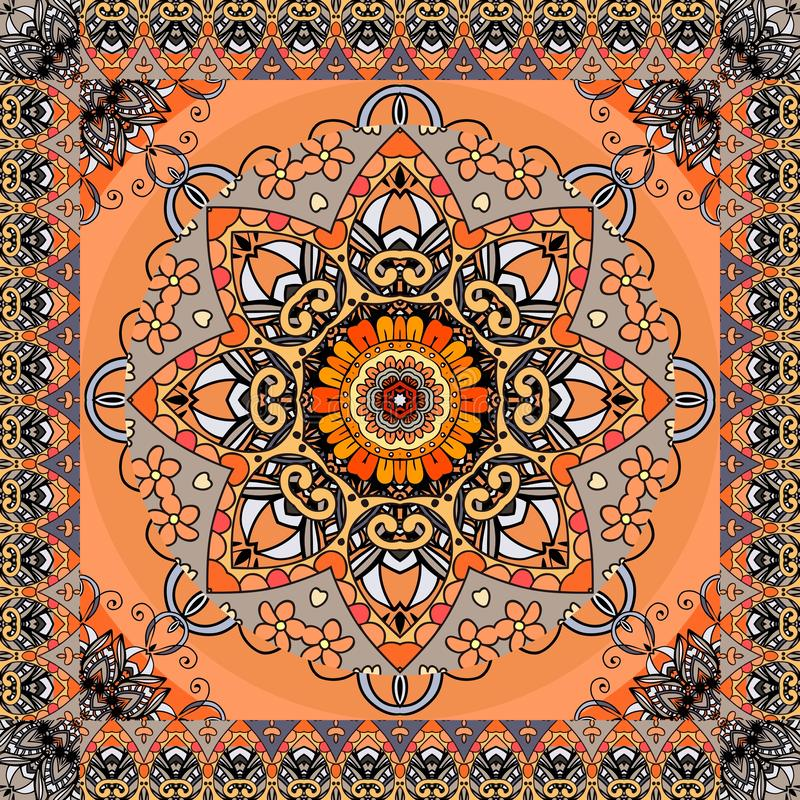 Greeting card or vintage bandana print with stylized sun mandala and ornamental frame on orange background. Ethnic pattern. Greeting card or vintage bandana stock illustration
