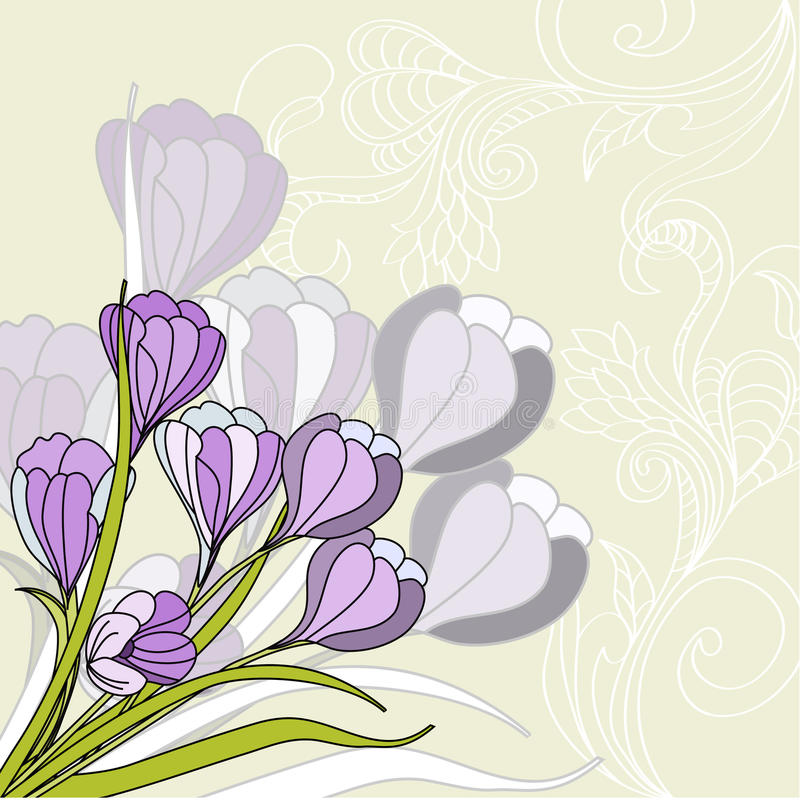 Greeting card with violet stock illustration