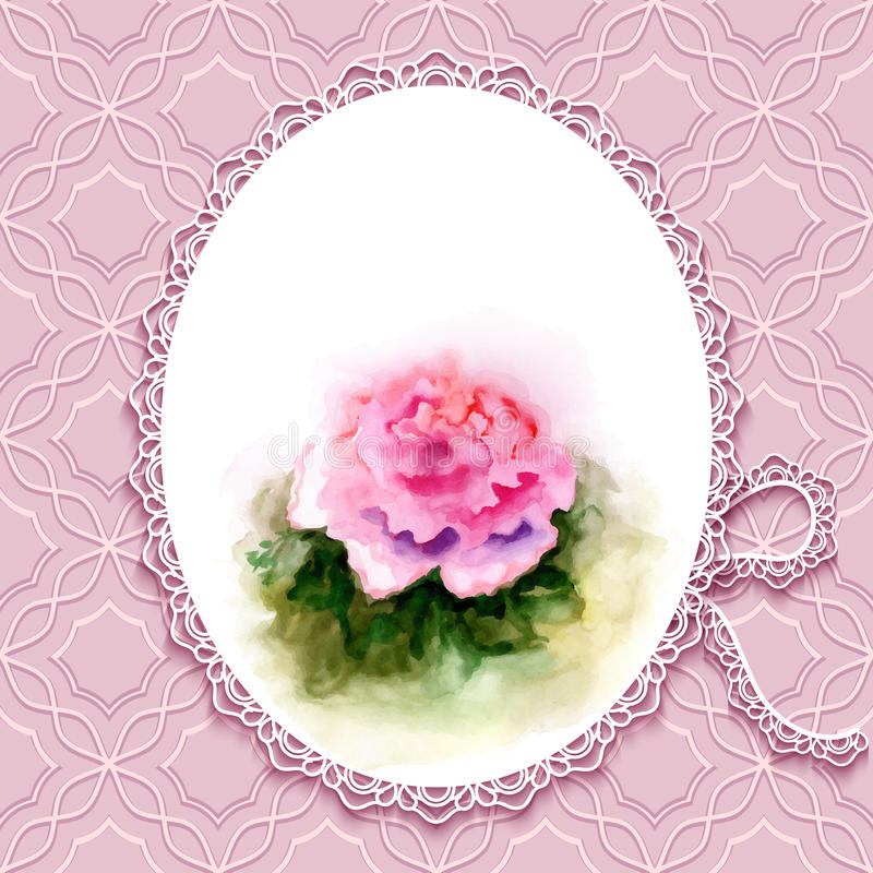 Greeting card with watercolor rose stock vector illustration of greeting card or invitation template in retro style with hand painted watercolor rose m4hsunfo